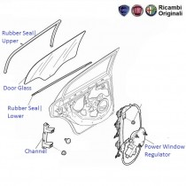 Fiat Linea: Rear Left Side Door Glass, Window Regulator