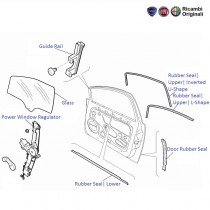 Fiat Linea: Front Left Side Door Glass, Window Regulator