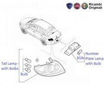 Fiat Linea: Tail Lamp, License plate lamp, Stop light