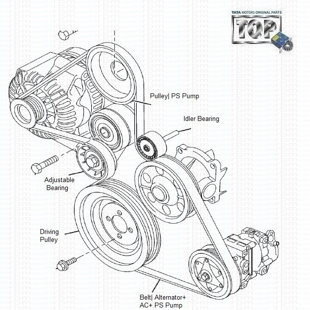 tata vista  u0026 manza  alternator belt  u0026 bearings