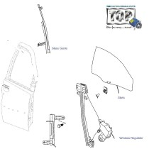 Door Glass & Regulator| Rear-Right| Indigo