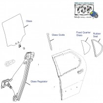 Door Glass & Regulator| Rear-Left| Indigo