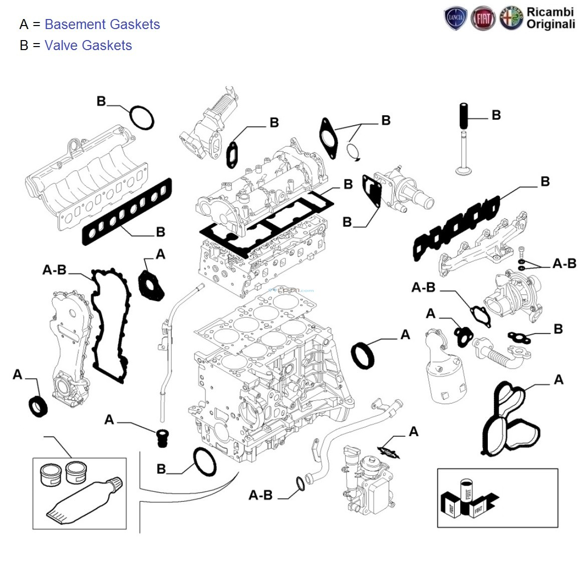 fiat punto 90hp 1 3 mjd  engine gaskets kit