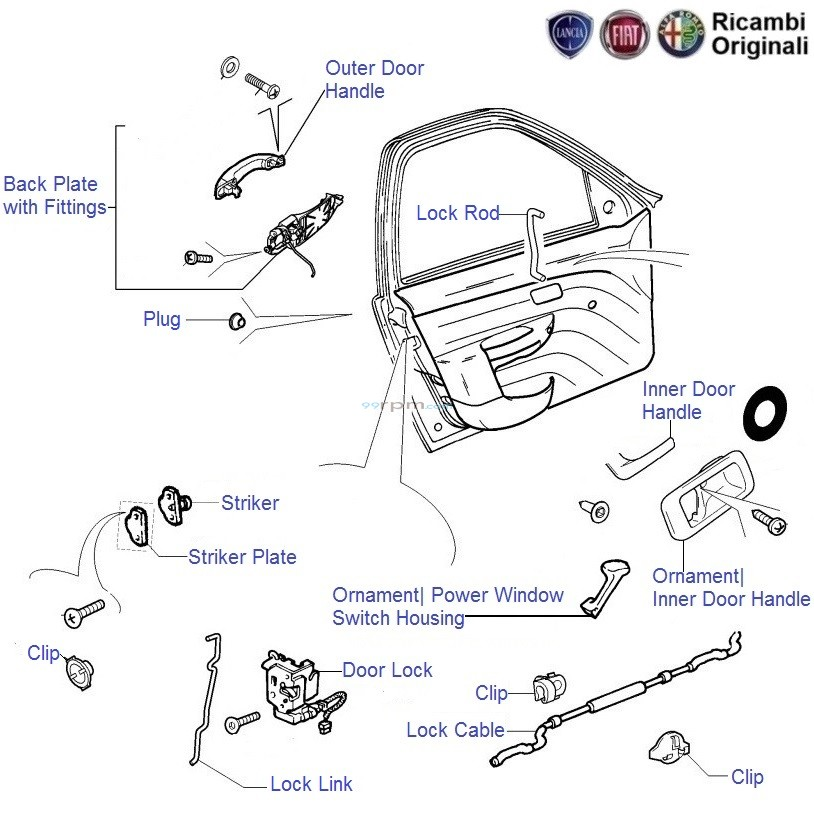 Fiat Palio Stile Front Left Co Driver Side Door Lock