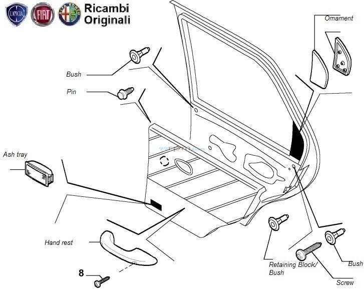 fiat palio rear right door pad fitting clips  handrest