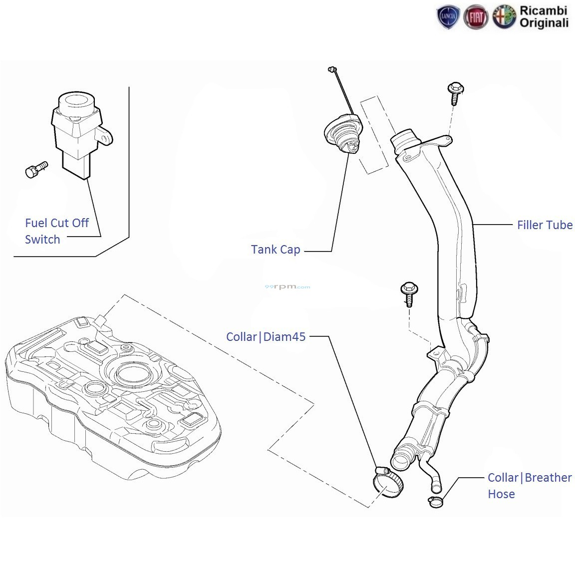 FIAT Linea 1 3 MJD Diesel: Fuel Filler Tube