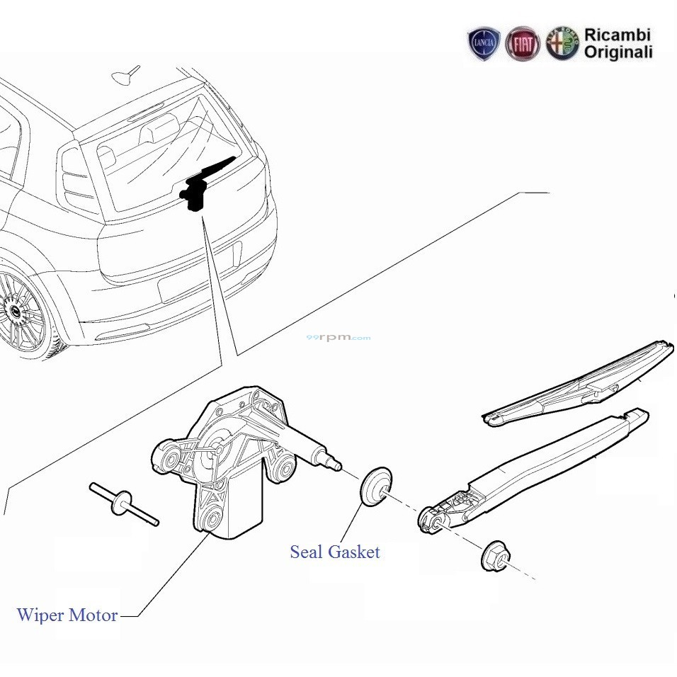 fiat punto rear wiper motor rh 99rpm com Chevelle Wiper Motor Wiring 4 Wire Wiper Motor Wiring