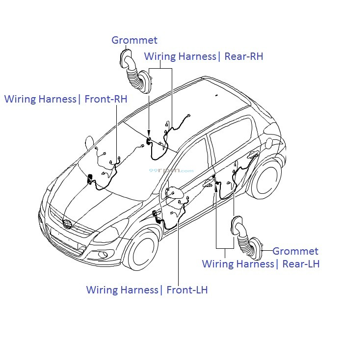 hyundai i20  door wiring harness