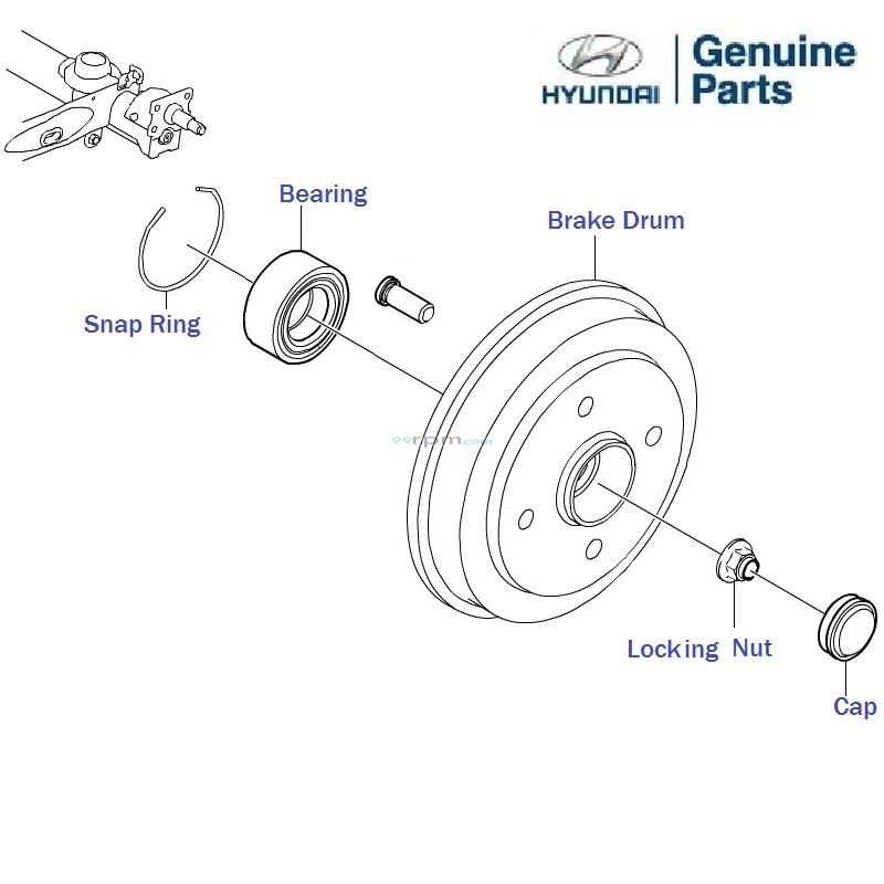 hyundai eon  rear brake drum