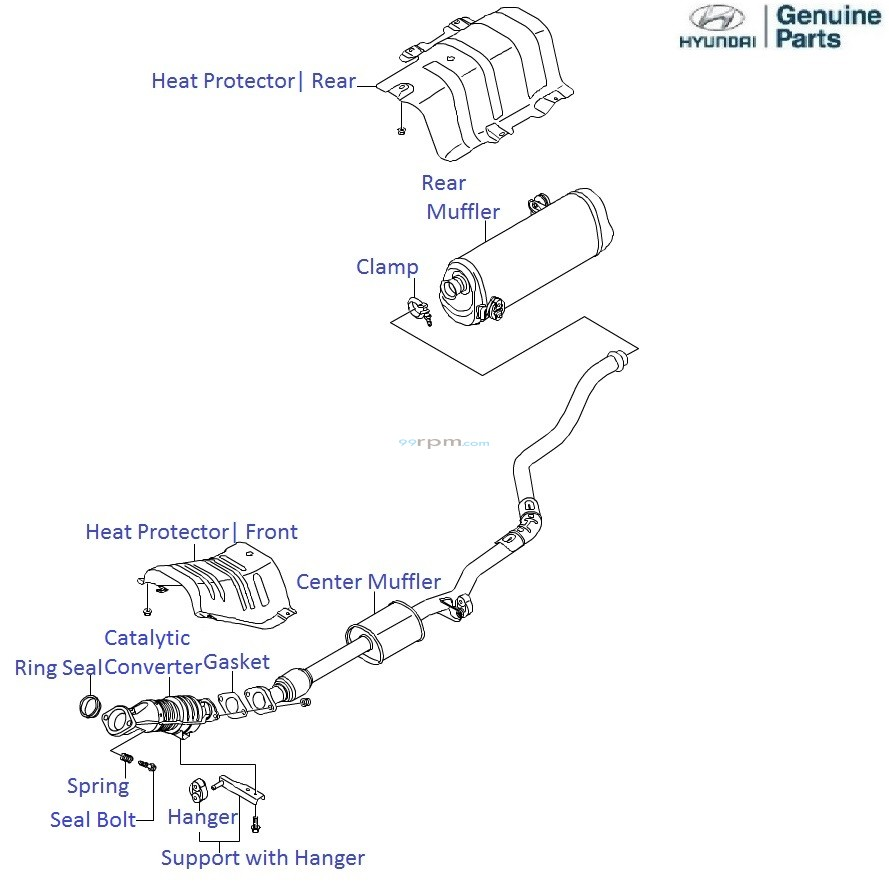hyundai i20 1 4 petrol  exhaust pipe and muffler