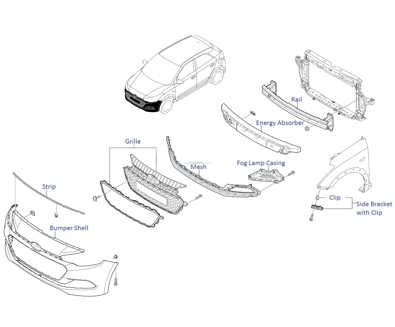 Front Bumper Elite I20 on hyundai santa fe spark plugs diagram