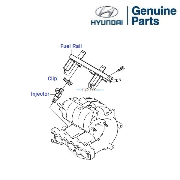 hyundai eon 0 8  fuel rail and injectors