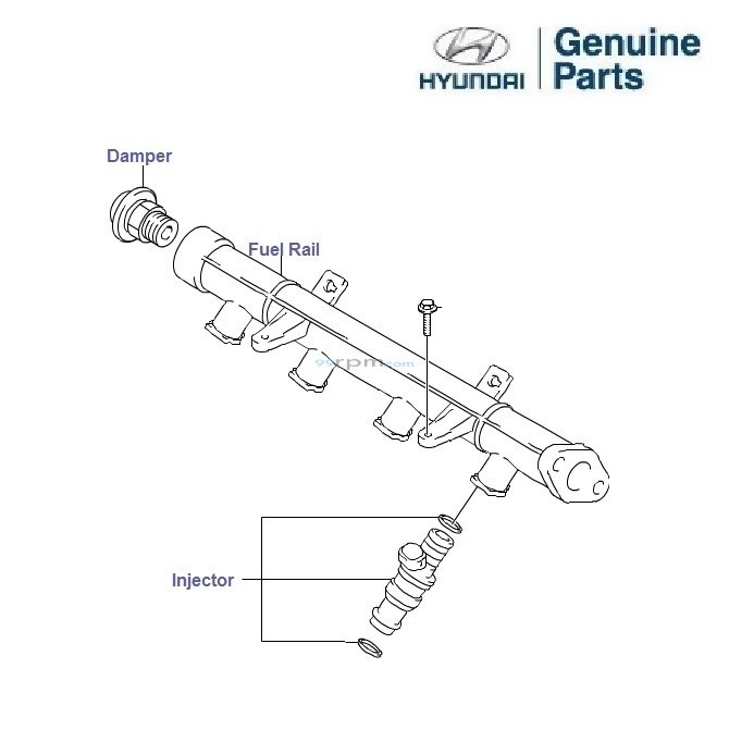hyundai getz prime 1 1 petrol  fuel rail and injectors