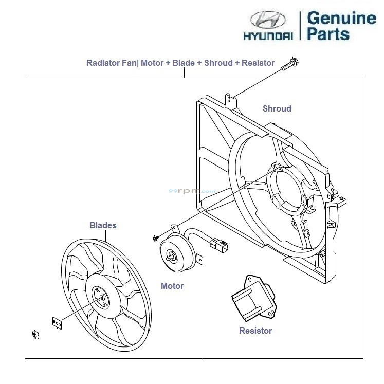 hyundai parts diagram radiator fan  u2022 wiring diagram for free