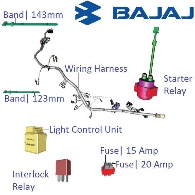Bajaj Pulsar AS200: Main Wiring Harness and Realys with Fuses on hella relays harness, h11 relay harness, relay wiring switch, relay wiring guide, relay wiring coil, bosch 5 pole relay harness, 5 pin relay harness, relay power harness, relay wiring fan, relay wiring plug, relay wiring kit, h13 conversion harness,